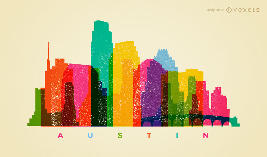 900x529 Colorful Austin Skyline