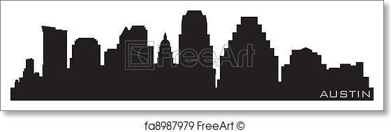 560x189 Free Art Print Of Austin, Texas Skyline. Detailed Vector