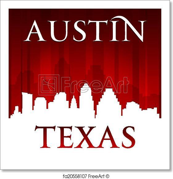 561x581 Free Art Print Of Austin Texas City Skyline Silhouette Red