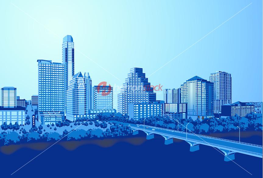 864x585 New Austin Skyline Vector Graphic