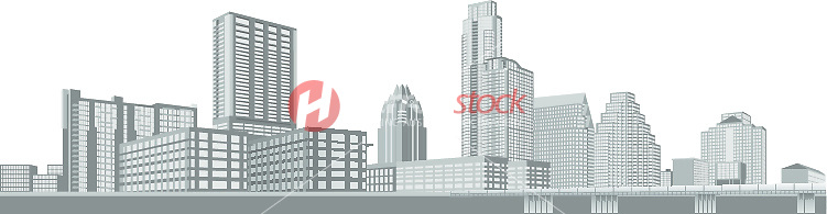 751x195 New Austin Skyline Grayscale Outline Vector Graphic Illustration