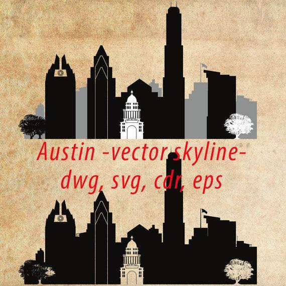 570x570 Austin Svg, Austin Clipart City Silhouette, Austin Skyline Vector