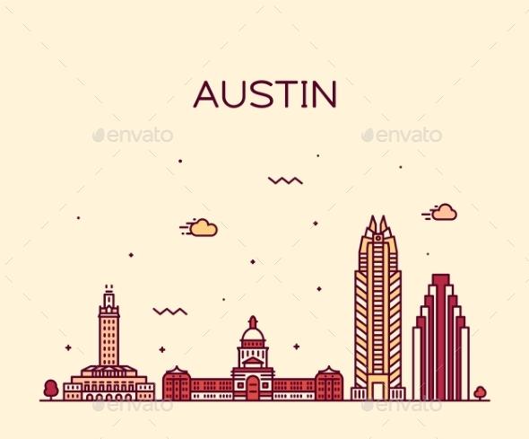 590x489 Austin Skyline Texas Usa Vector Linear Style By Gropgrop