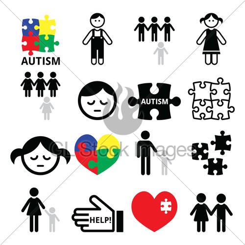 500x500 Autism Awareness Puzzles, Autistic Children Icons Gl Stock Images
