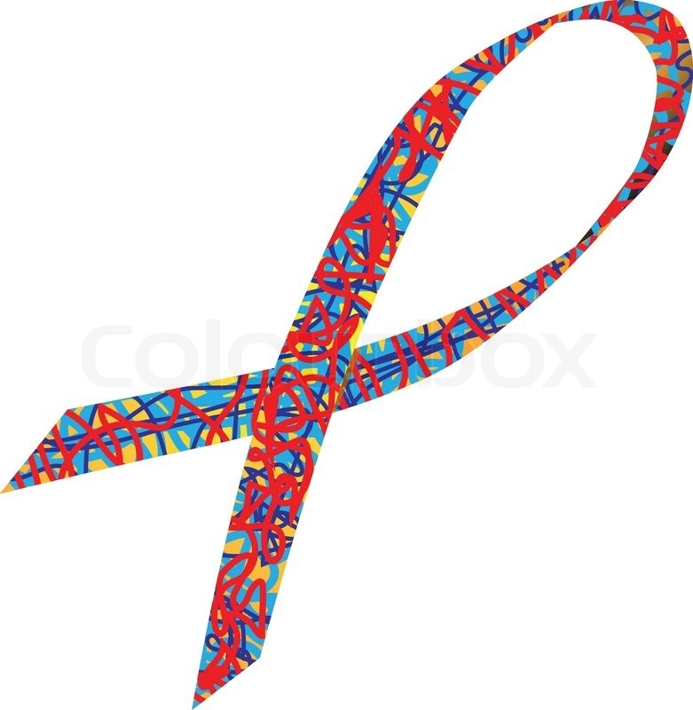 781x800 Autism Awareness Ribbon Stock Vector Colourbox