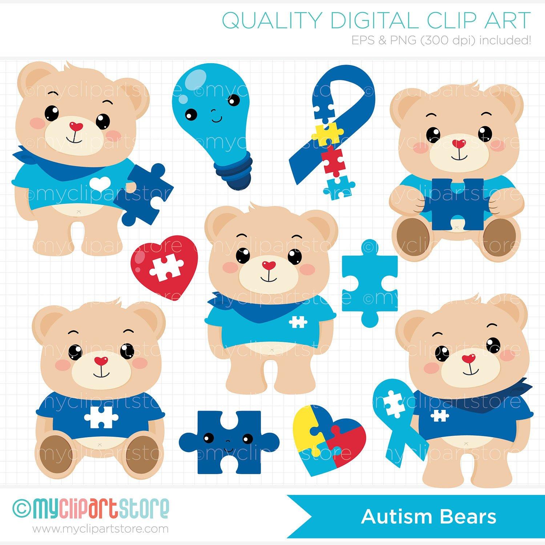 1500x1500 Autism Clipart Autism Bears Bear Clipart Autistic Autism Etsy