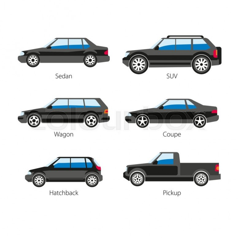 776x776 Car Body Types Vector Flat Icons Of Sedan And Coupe Wagon, Pickup