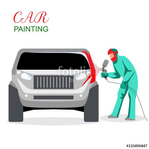 500x500 Car Painting. A Man Spray Painting Auto Body. Vector Illustration