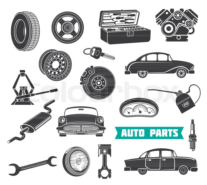 800x716 Auto Parts Vector Set. Auto Service Signs, Wrench And Gear