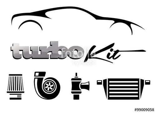 500x362 Vehicle Turbo Kit Performance Car Parts Icons Set. Vector