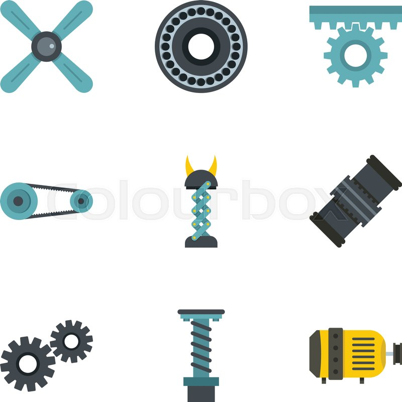 800x800 Auto Parts Icon Set. Flat Style Set Of 9 Auto Parts Vector Icons