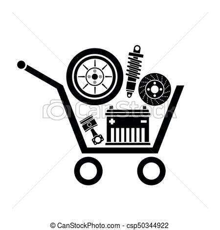 450x470 Auto Parts In The Supermarket Trolley. Symbol Of Car Parts Store