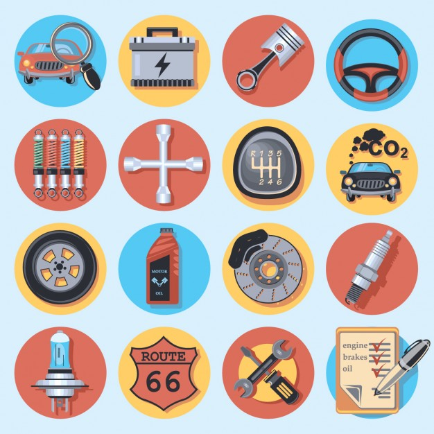 626x626 Car Repair Icon Collection Vector Free Download