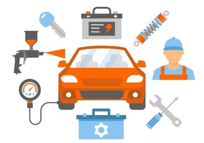700x490 Car Repair And Service Vector Illustration