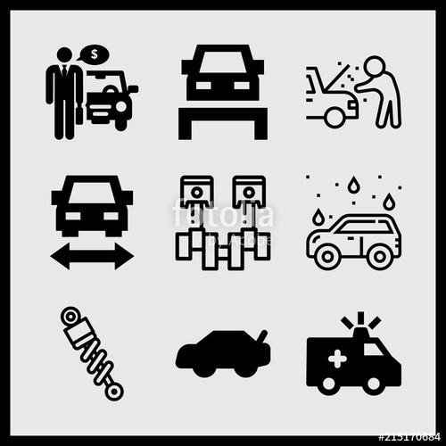 500x500 Simple 9 Icon Set Of Car Related Car Wash, Trunk, Car Repair And