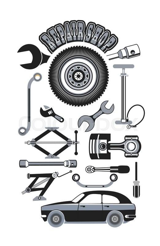 522x800 Vector Illustration Set Of Tools For Car Repair Stock Vector
