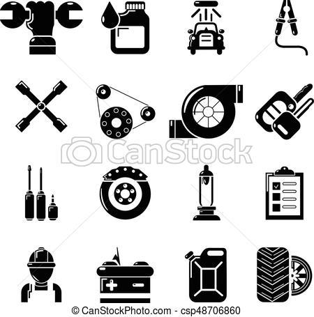 450x455 Auto Repair Icons Set, Simple Style. Auto Repair Icons Set. Simple