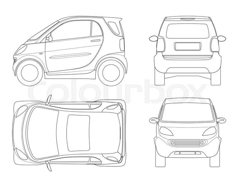 800x615 Vector Compact Small Car In Outline. Small Compact Hybrid Vehicle