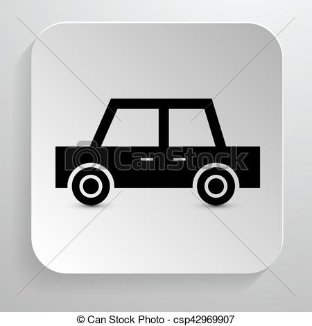 450x470 Car Icon. Vector Black Automobile Symbol On Paper Background.