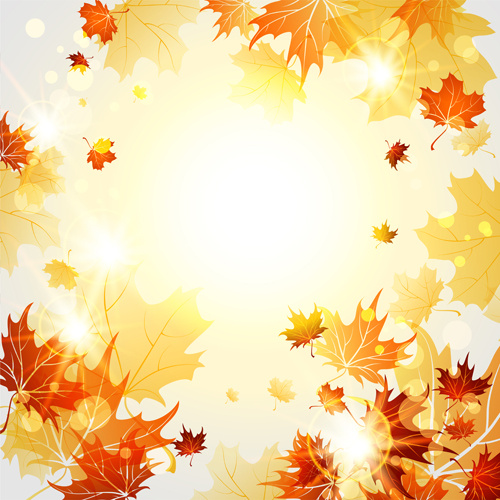 500x500 Bright Autumn Leaves Vector Backgrounds Free Vector In