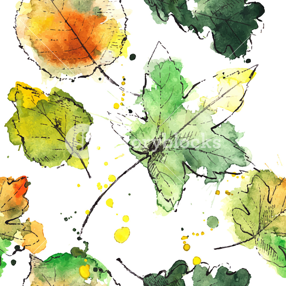 1000x1000 Colorful Hand Drawn Autumn Leaves. Vector Illustration. Royalty