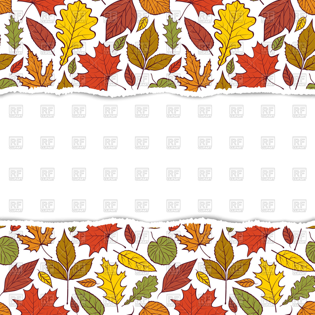 1200x1200 Colorful Horizontal Pattern With Autumn Leaves Vector Image