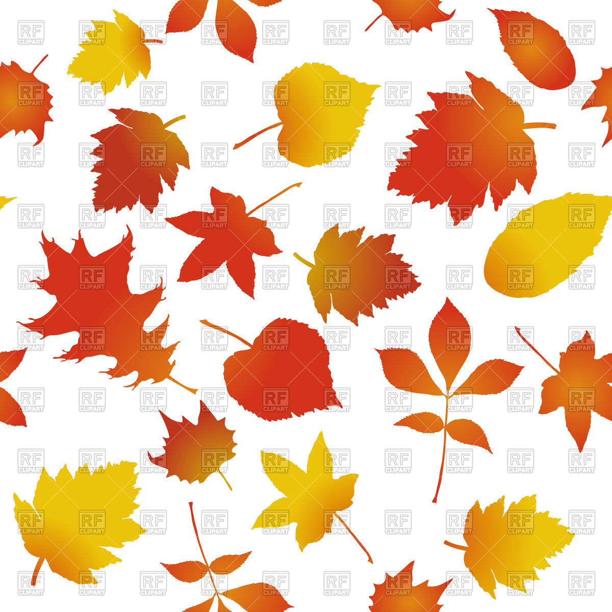 1200x1200 Seamless Pattern With Autumn Leaves Vector Image Vector Artwork