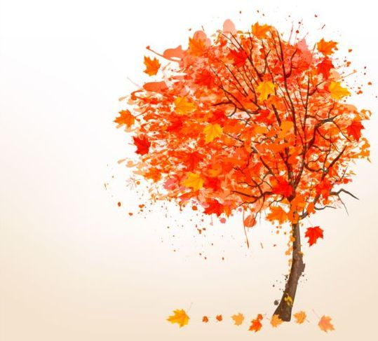 539x487 Autumn Leaves With Tree Vector Background Free Download