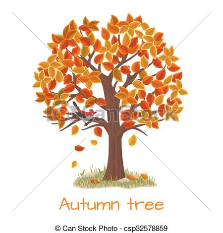 450x470 Autumn Tree Vector. Autumn Tree. Nature Tree, Season Fall And