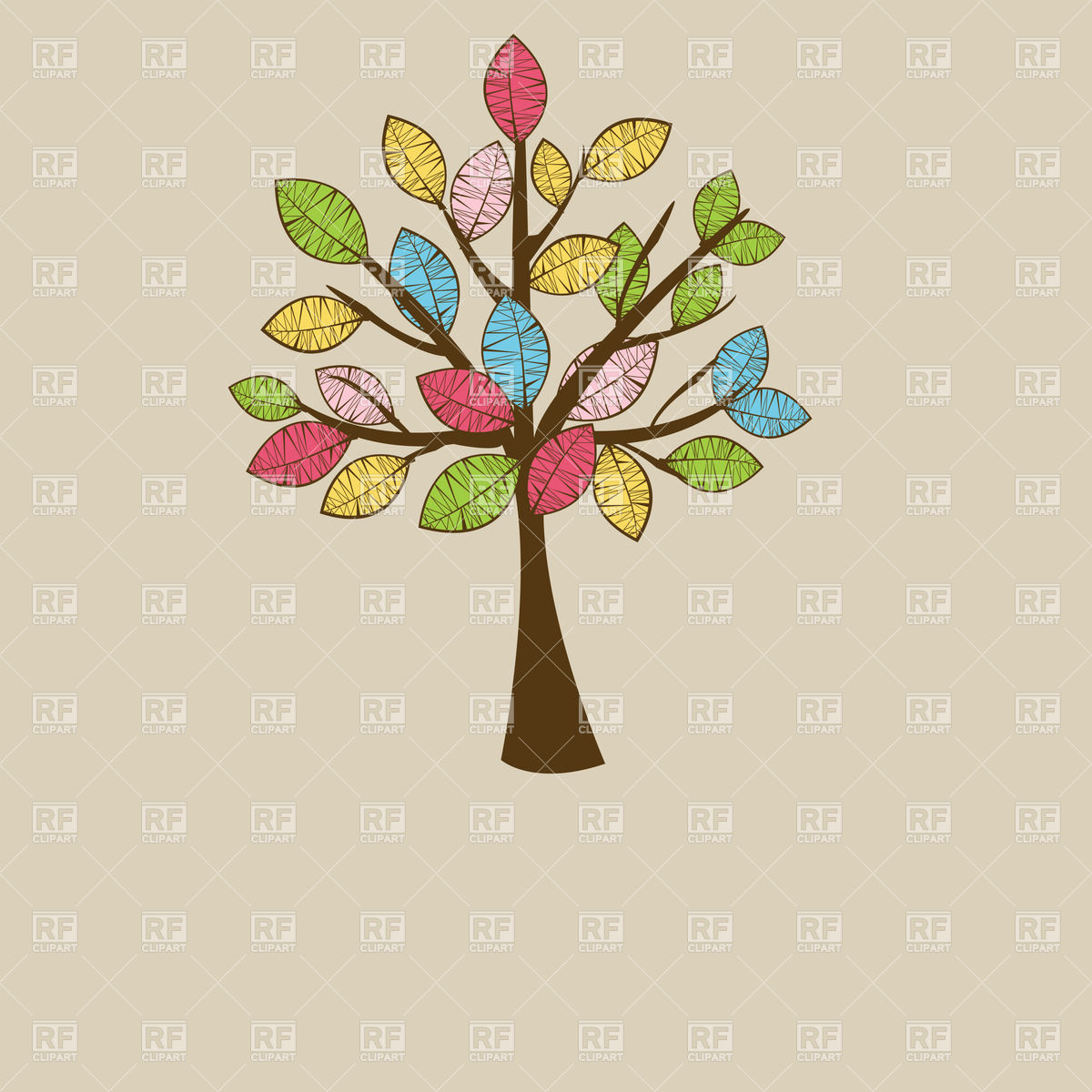 1200x1200 Beautiful Stylish Autumn Tree With Motley Leaves Vector Image