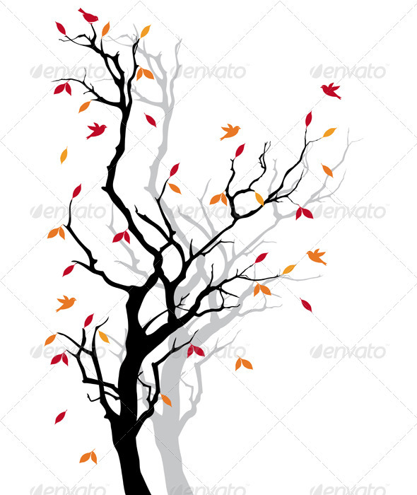 590x700 Autumn Tree, Vector Background By Amourfou Graphicriver
