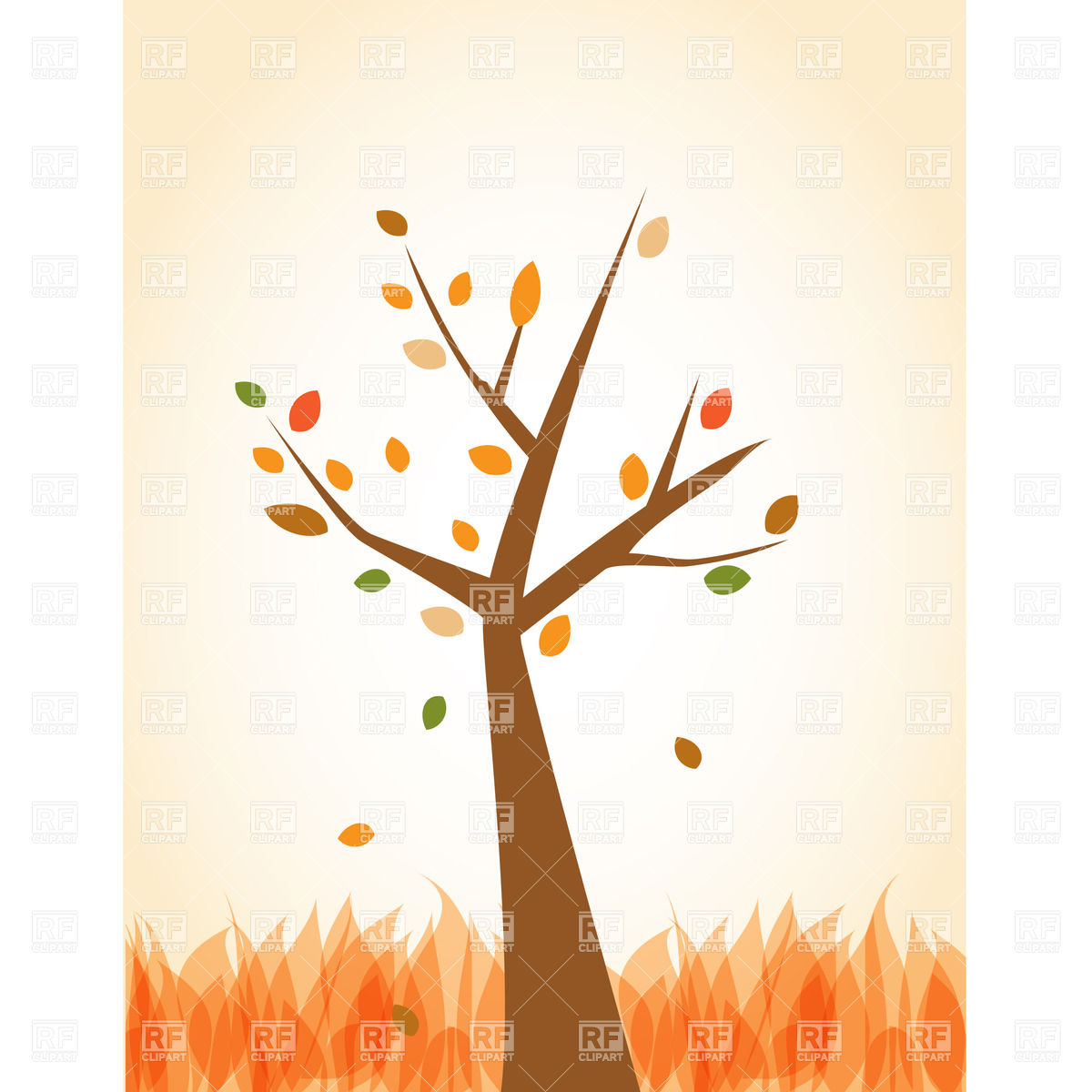 1200x1200 Stylized Simple Autumn Tree Vector Image Vector Artwork Of