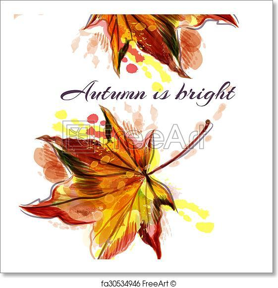 561x581 Free Art Print Of Autumn Vector Background With Yellow Red Maple