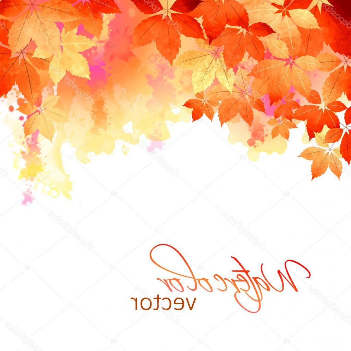 1228x1228 Stock Illustration Autumn Vector Watercolor Fall Leaves Shopatcloth