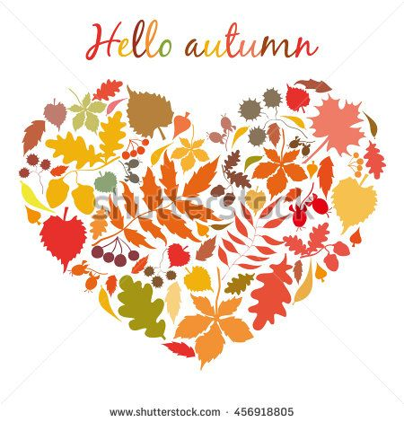 450x470 The Heart Of The Autumn Colorful Leaves. Postcard Hello Autumn