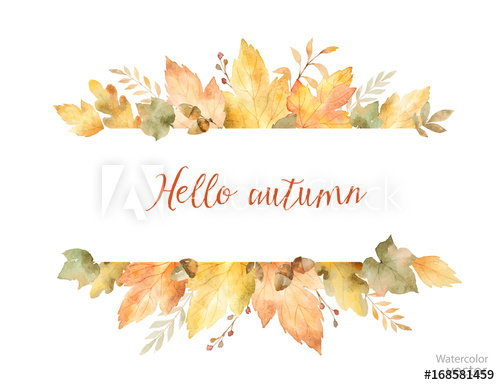 500x385 Watercolor Autumn Vector Banner Of Leaves And Branches Isolated On