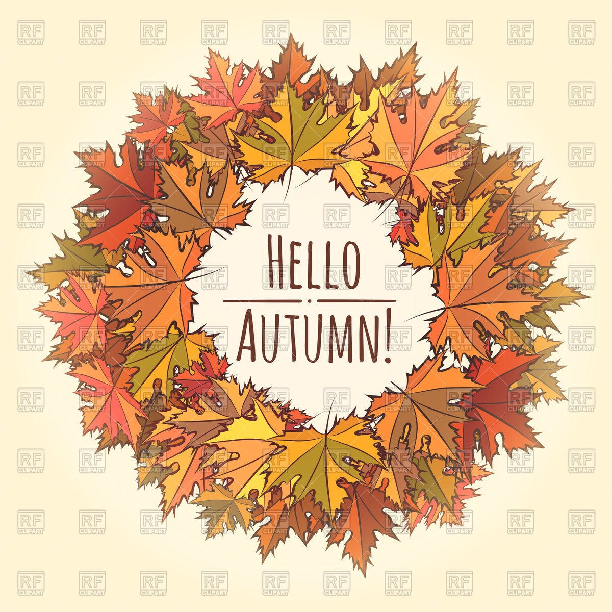 1200x1200 Autumn Round Frame With Wording Hello Autumn Vector Image Vector