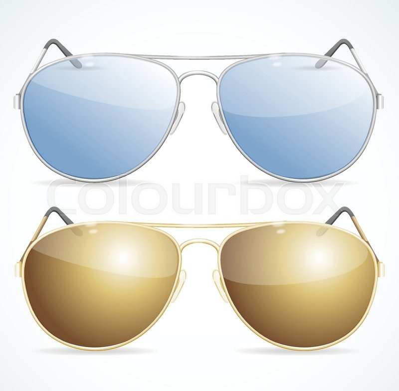 800x784 Aviator Sunglasses Set, Protection From Bright Sunlight. Vector