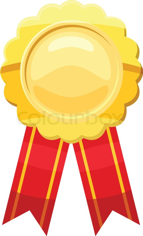 485x800 Gold Award Ribbon Icon. Cartoon Illustration Of Gold Award Ribbon