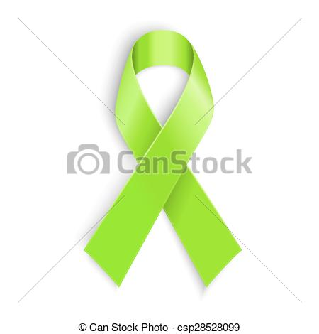 450x470 Lime Awareness Ribbon In White Background. Vector Illustration.