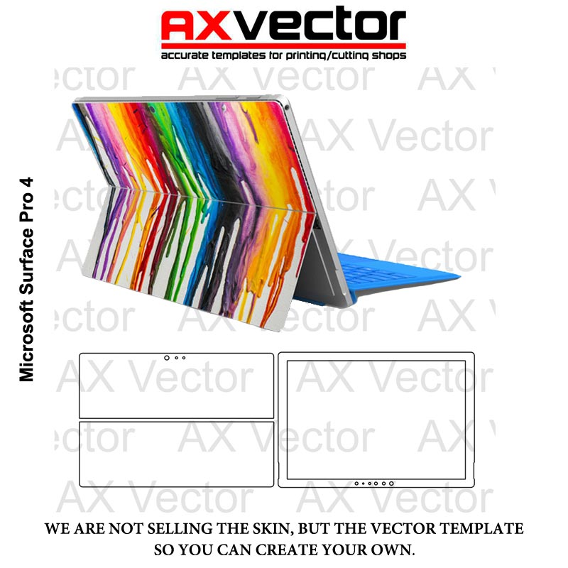 800x800 Microsoft Surface Pro 4 Vector Template, Accurate Contour Cut For