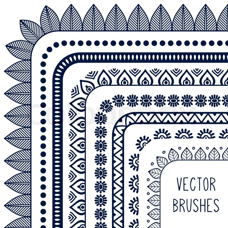 800x800 Ethnic Hand Drawn Vector Line Border Set And Hipster Scribble