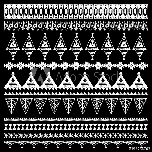 500x500 Set Of Brushes With Native Zigzag Ornaments. Hand Drawn Ethnic