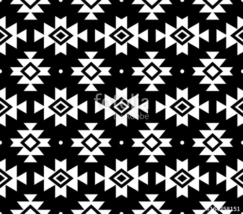 500x440 Aztec Vector Pattern, Tribal Background, Navajo Design In White On