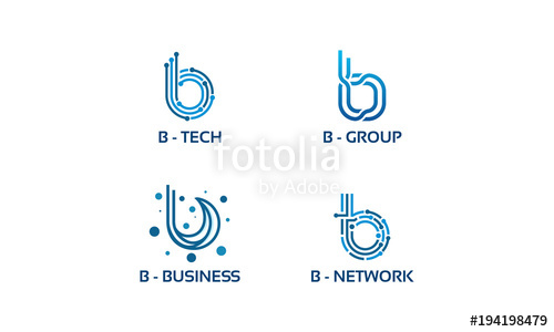500x300 B Initial Tech Logo Vector Set, Cool B Initial Wire Logo Template