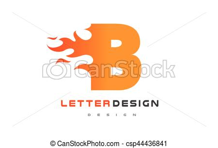 450x305 B Letter Flame Logo Design. Fire Logo Lettering Concept. B Letter