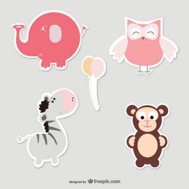 626x626 Baby Elephant, Owl, Zebra And Monkey Vector Free Download