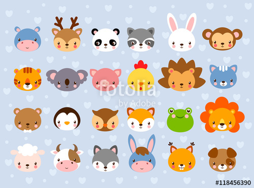 500x371 Big Vector Set With Animal Faces. Collection Of Cute Baby Animals
