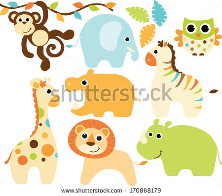 450x399 Cartoon Pictures Baby Animals Group With Items