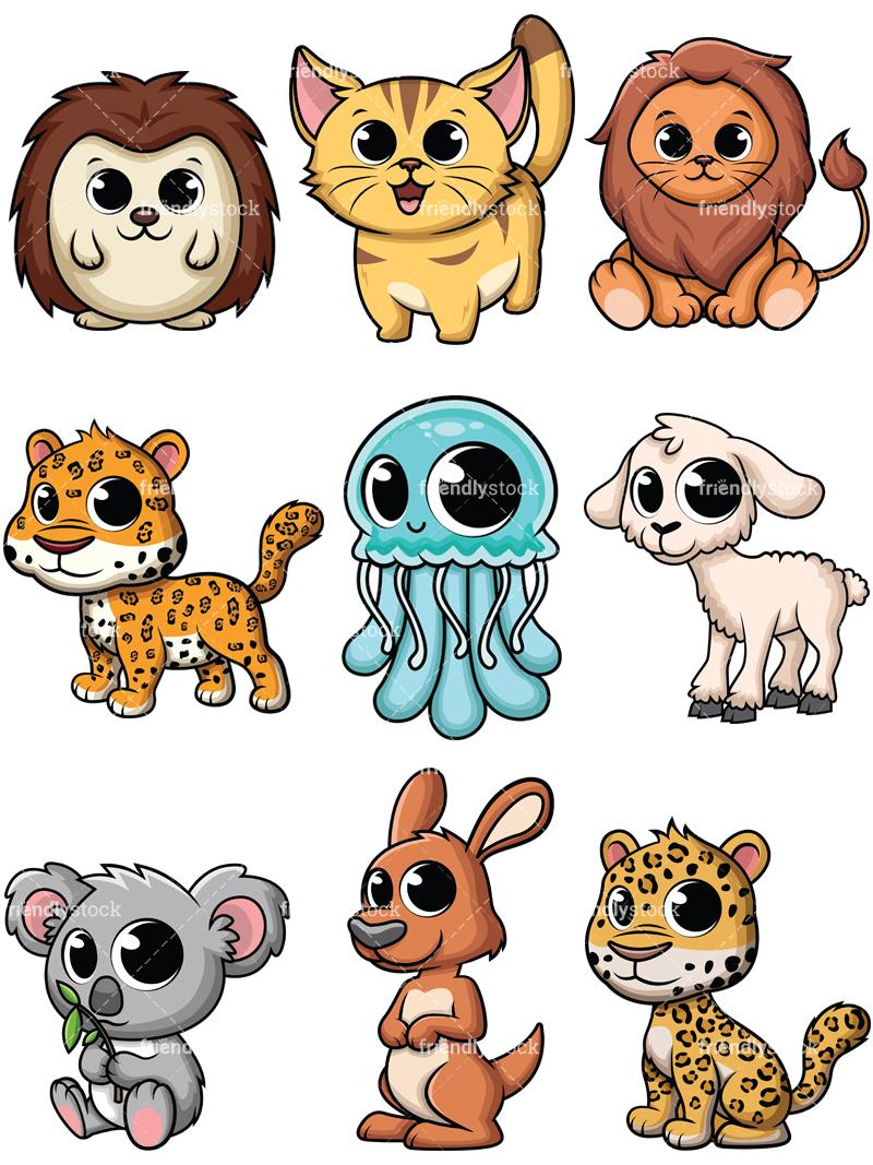 800x1067 Adorable Baby Animals Cartoon Vector Clipart